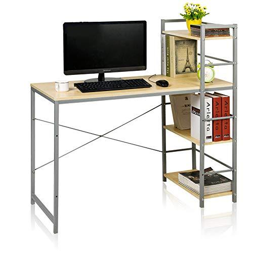 SMFYY computerbureau met planken, schrijfbureau voor thuiskantoor, studentenbureau met 4 tegelboekenplanken, multifunctioneel pc-houten werkstation