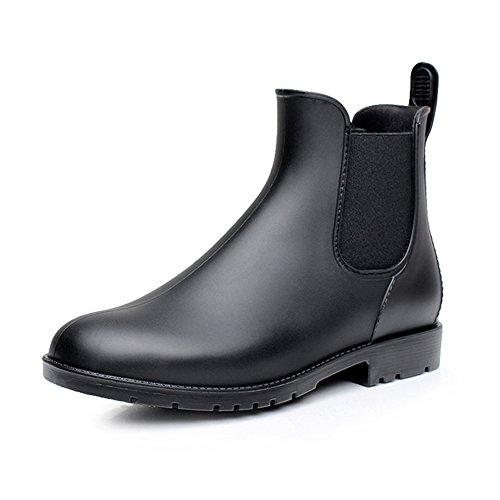 smiry Women's Short Rain Boots Waterproof Anti Slip Rubber Ankle Chelsea Booties B38 Black