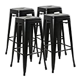 Lemberi 30 Inches Metal Bar Stools Counter Height Stackable Barstool Indoor-Outdoor High Backless Industrial Modern Metal Stools Kitchen Stool Set of 4 (Black)