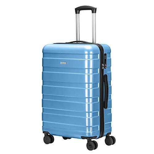 Amasava valigie rigide ABS hard shell super leggero da viaggio Carry On trolley 8 ruote valigia,55cm/43L,65cm/67L,75cm/103L,lucchetto TSA, 4 ruote multidirezionali (Blu, M(66CM,68L))