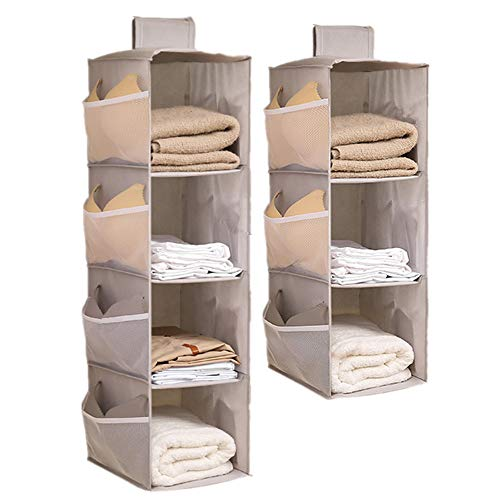 Hanging Closet Organizer 4+3 Shelves, Oxford Cloth Hanging Organizer Foldable with Side Pockets for Storage for Clothes, Pants, and Shoes (gray/2pack)
