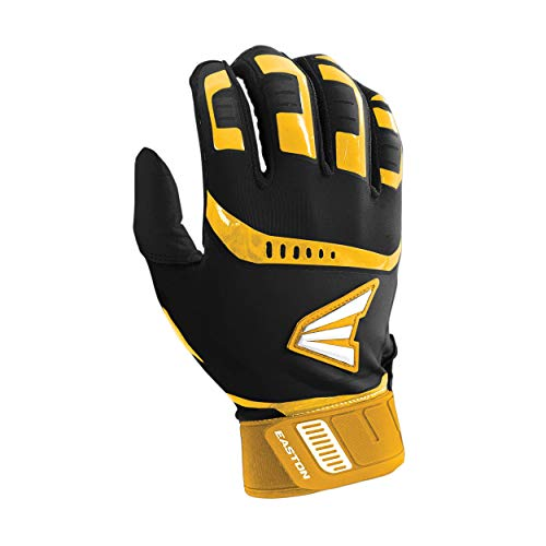 Easton Walk-Off Batting Gloves | Pair | Baseball Softball | Adult | X Large | Black/Gold | 2020 | Premium Smooth Leather Palm | Lycra for Flexibility & Silicone for Structure Look | Neoprene Closure
