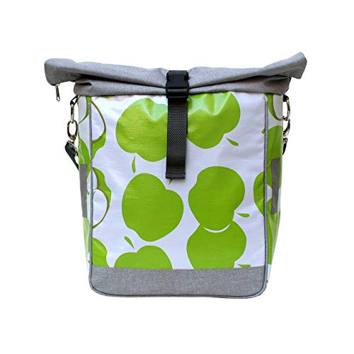 IKURI Fahrradtasche für Gepäckträger Einzeltasche Packtasche, abnehmbar, mit Klickfix Vario Haken, mit Tragegurt, aus Wachstuch, Damen, Wasserdicht, Modell Manzanas Grün