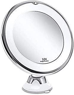 Makeup Mirror Makeup Mirrors with LED Light 10X Magnifying Mirror LED Mirror 360° Rotating with Strong Suction Cup