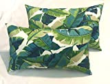 Resort Spa Home Decor RSH Décor Set of 2 - Indoor/Outdoor Rectangle Lumbar Pillows ~Balmoral Opal Blue Green Palm Leaf Print