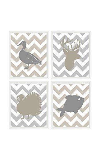 Amazon Com Hunting Nursery Wall Art Baby Boy Nursery Deer Duck Turkey Fish Taupe Gray Decor Hunting Nursery Decor Boy Room Wall Art Hunter Handmade