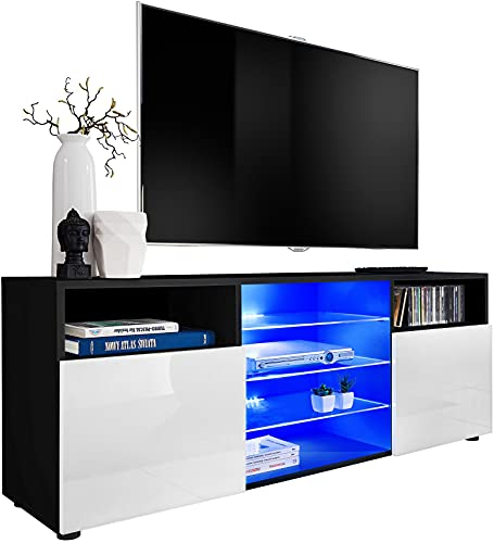ExtremeFurniture T38 Meuble TV, Carcasse en Noir Mat/Façade en Blanc Brillant + LED Multicolores avec télécommande