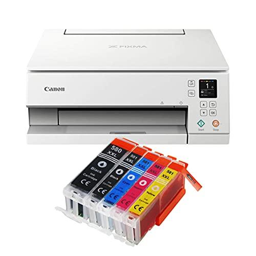 Canon Pixma TS6351 Farbtintenstrahl-Multifunktionsgerät TS-6351 weiß All-in-One 3-in-1 (Drucker, Scanner, Kopierer, USB, WLAN, Apple AirPrint) Schwarz + 5er Set IC-Office XXL Tintenpatronen