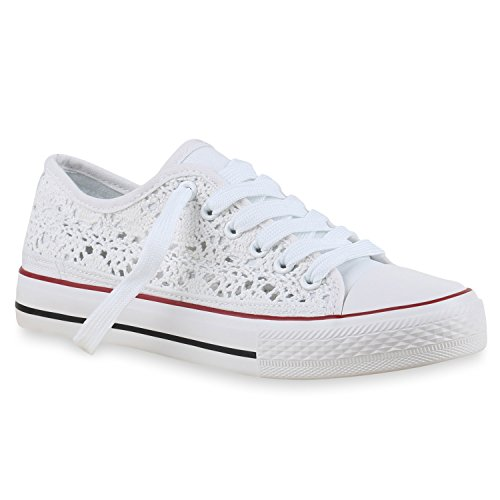 stiefelparadies Damen Sneakers Spitze Denim Sport Strass Stoff Blumen Prints Textil Sneaker Low Schuhe 131693 Weiß Spitze 37 Flandell
