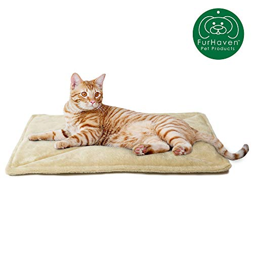 Furhaven Pet Dog Bed Heating Pad | ThermaNAP Quilted Faux Fur Insulated Thermal Self-Warming Pet Bed Pad for Dogs & Cats, Cream, Small