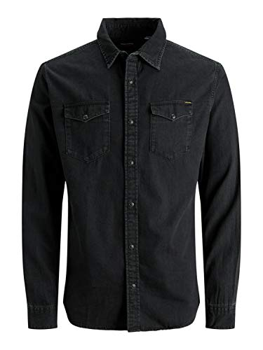 JACK & JONES JJESHERIDAN Shirt L/S Camicia in Jeans, Nero (Black Denim Fit:Slim), Medium Uomo