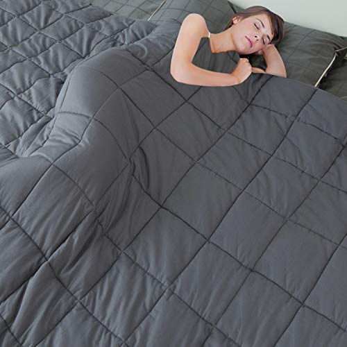 """MerLerner Weighted Blanket (25LBS 88"""" X 104"""" 7-Layered) King Size Comfortable 200TC 100% Cotton Breathable Washable Weighted Blanket with Glass Beads for Adult,Dark Grey"""