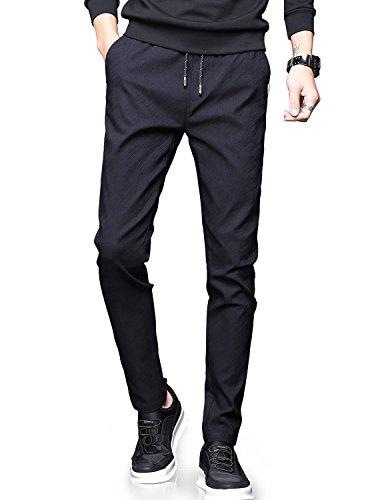 NEWHEY チノパン メンズ スキニーパンツ スーパーストレッチ スウェットズボン 細身デザイン 大きいサイズ 秋 冬 ブラック28-XS