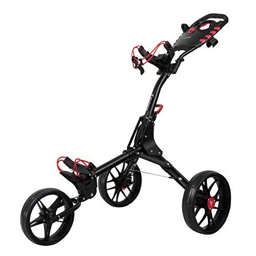 vilineke Chariot de golf compact à 3 roues, petit pliable et léger, 2 étapes d ouverture et fermeture (gris foncé)