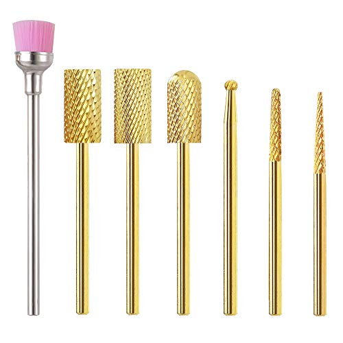 Nail Drill Bit Set, Safety 3/32 Carbide Drill Bit for Acrylic Nails Professional, E-File 7Pcs Tungsten Nail Bits Holder Coarse for Nail Drill, Electric Cone Gold Cuticle Gel Nail Drill Bit Fine
