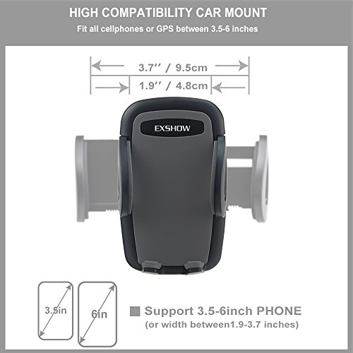 EXSHOW Windscreen Car Phone Mount, Windshield Mobile Phone Holder, Universal Dashboard Car Cradle for iPhone 11 Pro Xs Xr X 8 7 Plus 6s 5s, Huawei p20 p10 Honor, Samsung, Sony etc (8.5 inch Long Arm)