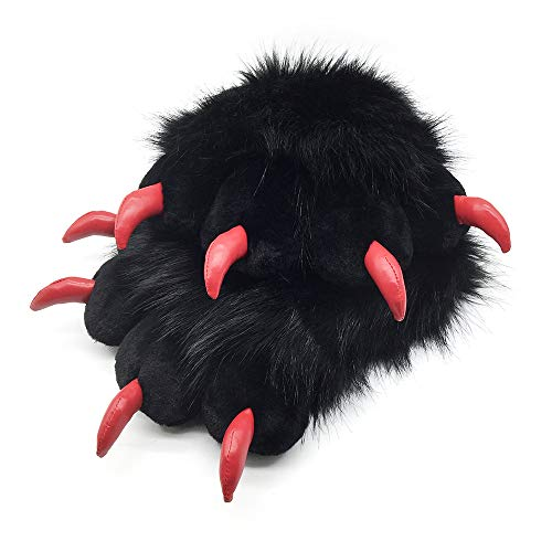 FurryValley Fursuit Paws Furry Partial Fluffy Gloves Costume Lion Bear Props for Kids Adults (Black)