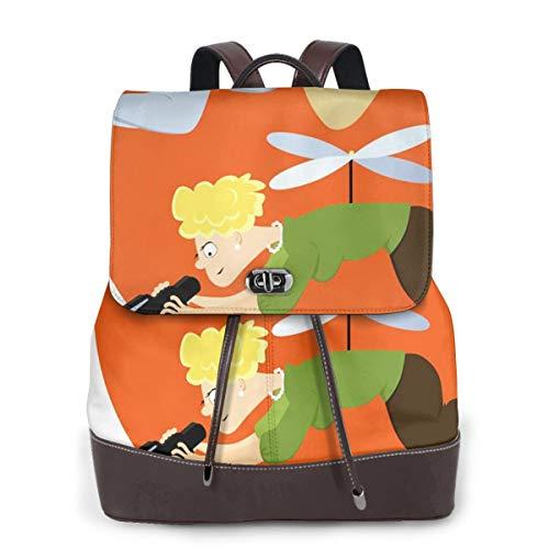 SGSKJ Rucksack Damen Hubschrauber Eltern schweben, Leder Rucksack Damen 13 Inch Laptop Rucksack Frauen Leder Schultasche Casual Daypack Schulrucksäcke Tasche Schulranzen