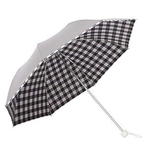 日傘 UPF50+ UVカット率99%以上 遮光率99%以上 遮熱効果 折りたたみ 晴雨兼用 軽量 UV <ひんやり傘>【LIEBEN-0577】 シルバー (ブロックチェック)