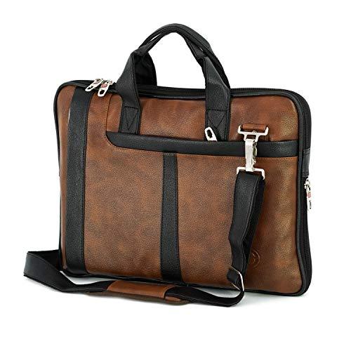 Storite PU Leather 15.6 Inch Laptop Shoulder Sling Office Travel Organizer Bag for Men & Women (39cm x 30cm x 6cm, Black/Brown)