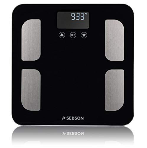 SEBSON Báscula Corporal digital, Bascula Baño analisis corporal (8 valores) - peso, grasa, agua, muscular, IMC, etc - Balanza Personal de hasta 180kg