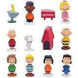 Ksopsdey 12Pcs Mini Figures,Snoopy Cake Topper,Peanut Comics Snoopy Figures Tartas de La Torta del Fiesta Navidad Toppers Suministros Regalos para Fanáticos de Los Juegos, Niños y Adultos