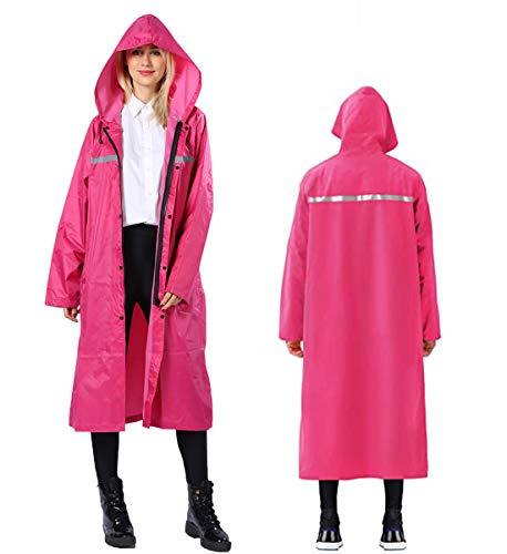 AIEOE Reflektierend Regenjacke Hochsichtbare Wasserdicht Lange Regenmantel mit Knopf Wiederverwendbarer Schutzregenmantel Schnell Trocknender Outdoor-Poncho