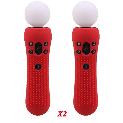 Pandaren® BORCHIE silicone custodie covera pelle antiscivolo per il PS VR MOVE controller di MOVIMENTO x 2 ( rosso)