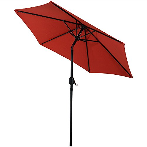Sunnydaze 7.5 Foot Outdoor Patio Umbrella with Tilt & Crank, Aluminum, Burnt Orange