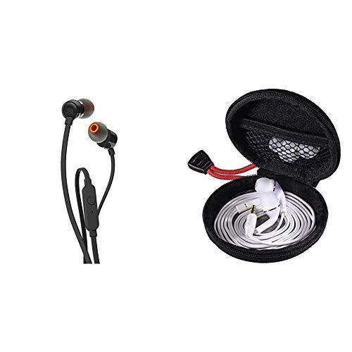 JBL Tune 110 – In-Ear Kopfhörer mit verwicklungsfreiem Flachbandkabel und Mikrofon in Schwarz & Hama Kopfhörer Tasche für In Ear Headset, schwarz