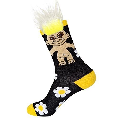 Gumball Poodle Damen-Crew Socken - Good Luck Trolls faules Gänseblümchen (mit echtem Haar!)-(Einheitsgröße)