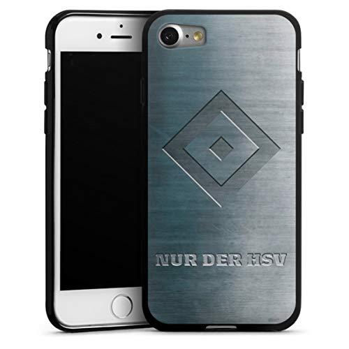 DeinDesign Silikon Hülle kompatibel mit Apple iPhone 8 Case schwarz Handyhülle HSV Hamburger SV Metallic Look