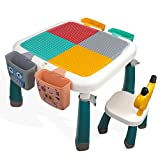 25.2 x 25.2in Toddler Activity Table, Kids Table & Chair Set All-in-One Multi Activity Playset Compatible Building Block and Water Table Sand Table, Versatile Toys for Toddlers 3 4 5 Year Old