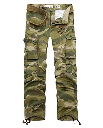 Ayg, modelo 012 - Pantalón de camuflaje multibolsillos para hombre, de algodón verde Green 32 M