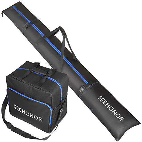 SEEHONOR Padded Ski Bag and Boot Bag Combo, Store Transport Skis Up to 79 Inch and Boots Up to Size 13, Two-Piece Padded Ski Sleeve and Ski Boot Bags