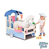 Glitter Girls Dolls by Battat – GG Horse Stable Barn Playset with Saddle and Play Food Items (Pink & Blue) – 14-inch Doll and Horse Accessories for Kids Ages 3 and Up – Children's Toys
