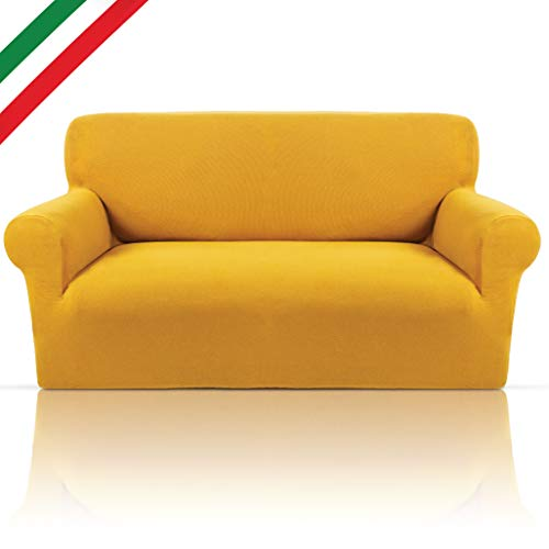 Copridivano Letto Bielastico Elegante Tessuto Cotone Puro Elasticizzato Con Braccioli Sagomati Made In Italy 6 Colorazioni E Misure Copri Divano Per Arredamento Soggiorno 4 Posti (da 240 a 280cm) Oro