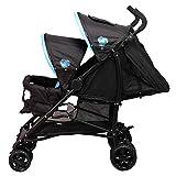 Bambisol - Poussette Canne Double Enfants Rapprochés - Pliage Compact, Habillage Pluie Inclus (Noir Turquoise)