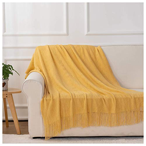 """BATTILO HOME Knit Throw Blanket Soft Lightweight Textured Decorative Blanket with Tassel for Bed, Couch (Yellow, 50""""x60"""")"""