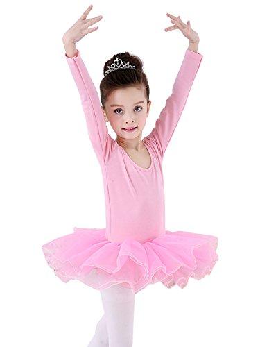 Happy Cherry - Traje de Danza Ballet para Niñas Vestido Falda Tutú con Manga Larga Maillot de Gimnasia Leotarto Clásico con Calcetines Rosa Negro