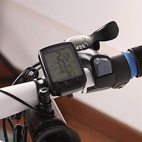 Dafengchui Impermeable Sunding computadora de la Bicicleta multifunción Ciclo de la Bici Velocímetro cuentakilómetros medidor de Potencia de retroiluminación de LCD Bici de la computadora (Color : A)