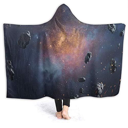 ZOMOY Tragbare Hoodie Decke,Schwarz Blau Abstrakt Kosmische Asteroiden Orbit Universum Glühender Globus Tiefe Sterne Äußere Wissenschaft Venus,Umhang Druck Grafik warm für den Winter 50x40