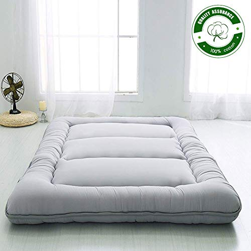 Japanese Floor Mattress Futon Mattress, Thicken Tatami Mat Sleeping Pad Foldable Roll Up Mattress Boys Girls Dormitory Mattress Pad Kids Floor Lounger Bed Couches and Sofas, Grey, Queen Size