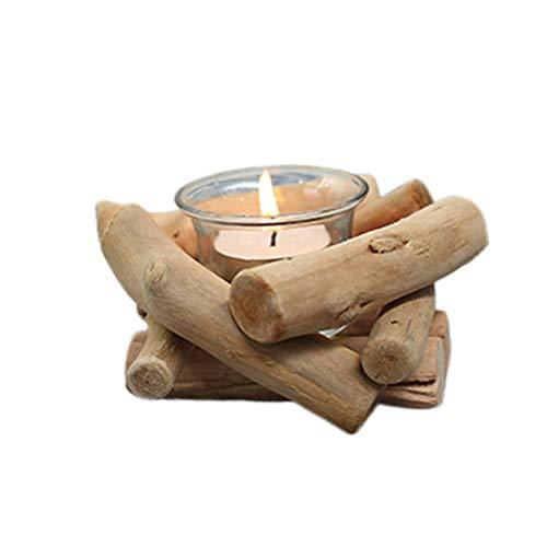 SUPVOX Kerzenhalter aus Naturholz Treibholz mit Kerzenhalter und Glasbecher