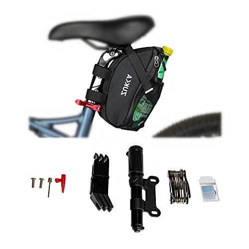 MEGHNA Bike Frame Storage Seat Bag Bike Kit Bag Includes Multifunctional Tools Strap-On Bag for Bike Under Seat