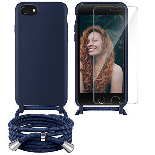 YIRSUR Handykette Handyhülle + Panzerglas Schutzfolie für iPhone SE 2020,iPhone 7/8 Hülle mit Kordel Umhängen Necklace Hülle mit Band Silikon TPU Schutzhülle Case für iPhone SE 2020/6/7/8 (Blue)