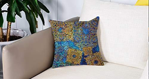 Mingdao Home Decor Sofa Werfen Kissenbezüge,Ethnisch, Traditionell Persisch Motiv Orientalisch Marokkanisch Effekte Exotisch Boho Design, Hell Kaffee Blau,Kissen Cover Square Pillowcase