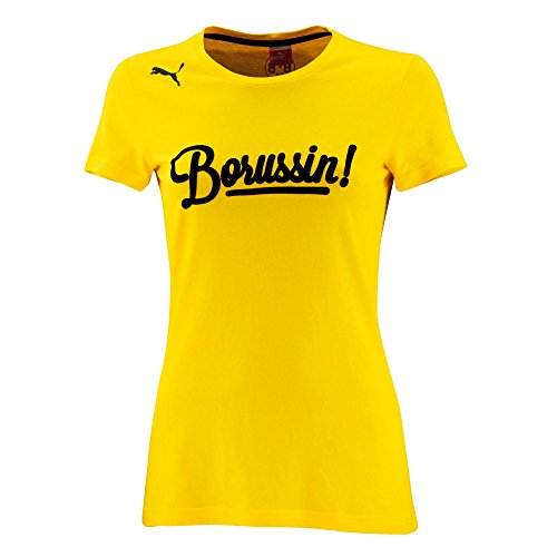 PUMA Damen T-Shirt BVB Dortmunder Tee, Cyber Yellow, XXL