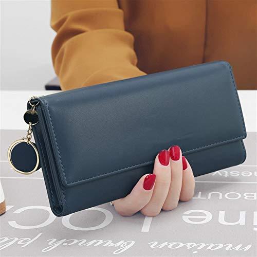 Ys-s Personalización de la Tienda Moda Mujeres Carteras Marca Letra Recordable Tri-Fold Billetera Monedero Titular de la Tarjeta de Embrague de Cuero Fresco (Color : Blue, Size : A)