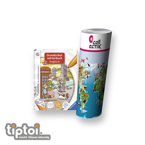 Ravensburger tiptoi ® Englisch Buch | Grundschulwörterbuch Englisch + Kinder Weltkarte - Länder, Tiere, Kontinente